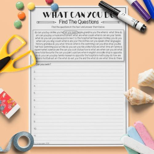 ESL English Verbs Find The Question Activity Worksheet