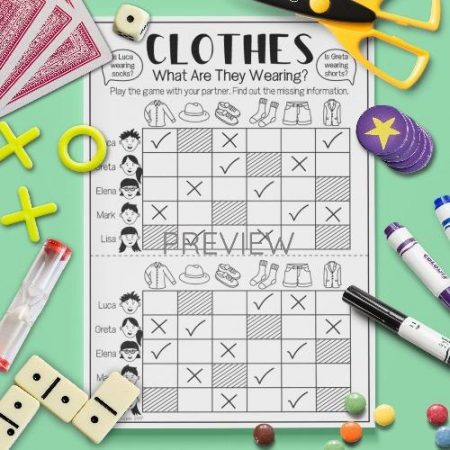 ESL English Clothes What Are They Wearing Game Activity Worksheet