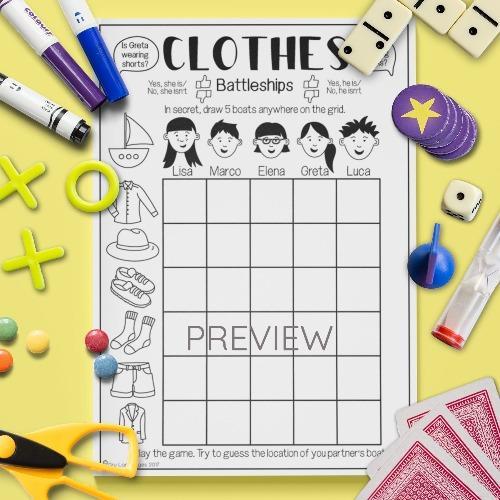 ESL English Clothes Battleships Game Activity Worksheet