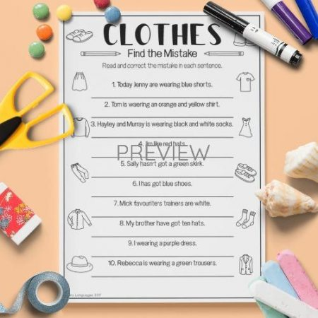 ESL English Clothes Find The Mistake Activity Worksheet