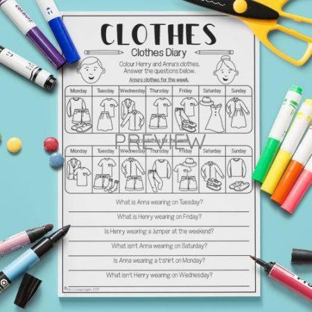 ESL English Clothes Diary Activity Worksheet