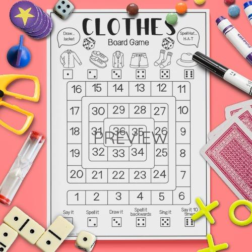 ESL English Clothes Board Game Activity Worksheet