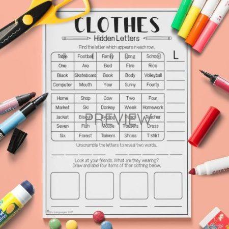 ESL English Clothes Hidden Letters Puzzle Activity Worksheet