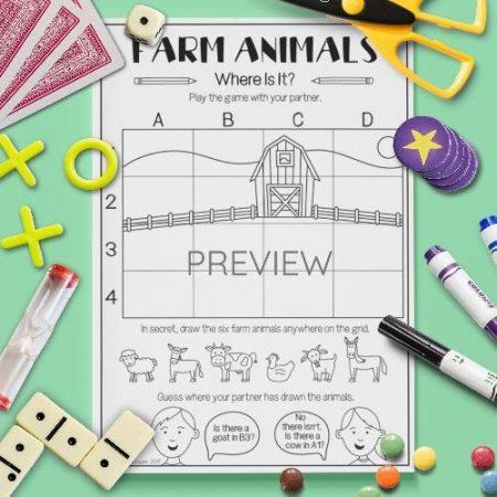 ESL English Farm Animals Where Is It Game Activity Worksheet