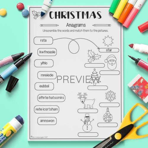 ESL English Christmas Anagrams Activity Worksheet