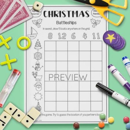 ESL English Christmas Battleships Game Activity Worksheet