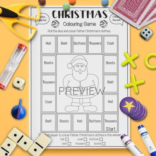 ESL English Christmas Colouring Game Activity Worksheet