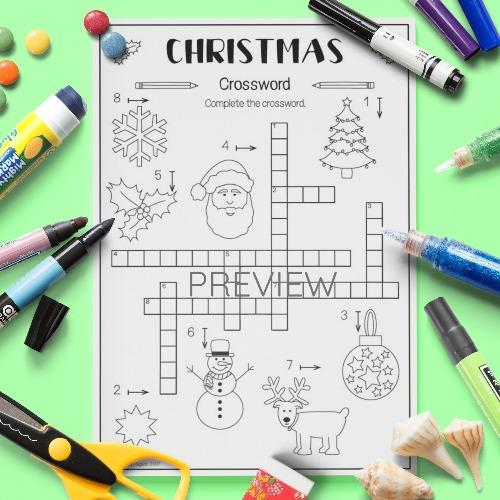 ESL English Christmas Crossword Activity Worksheet