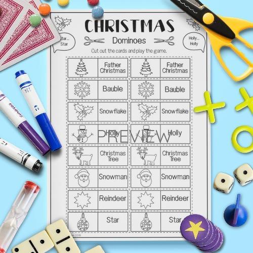 ESL English Christmas Dominoes Game Activity Worksheet