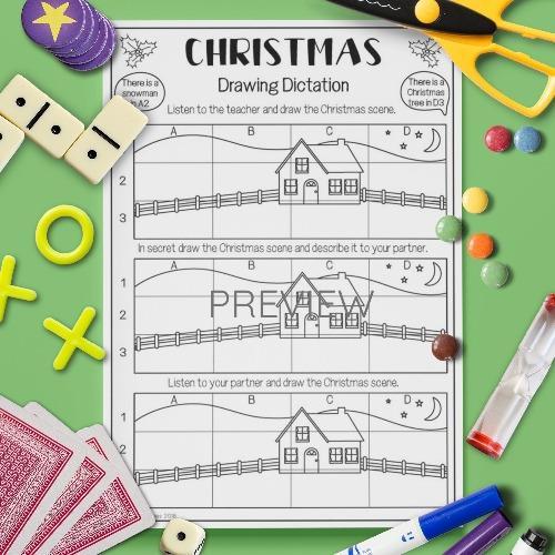 ESL English Christmas Drawing Dictation Game Activity Worksheet