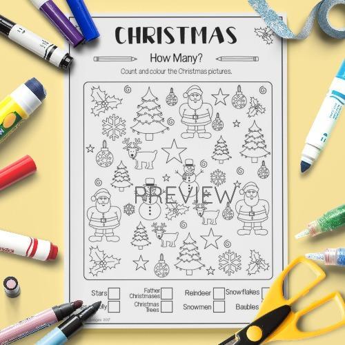 ESL English Christmas How Many Activity Worksheet