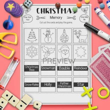 ESL English Christmas Memory Game Activity Worksheet