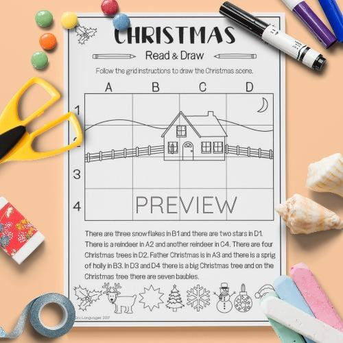 ESL English Christmas Read And Draw Activity Worksheet