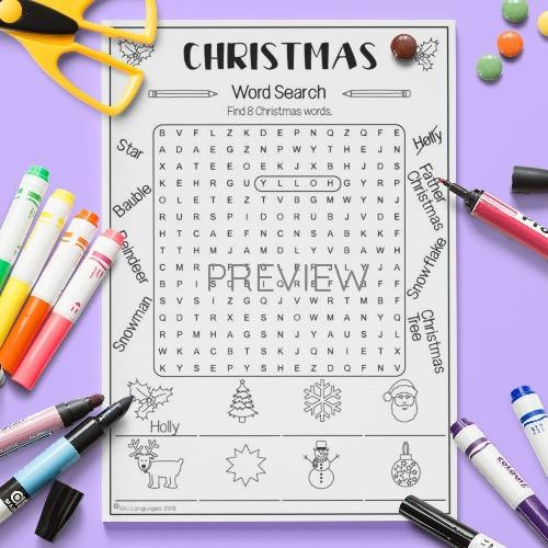 ESL English Christmas Word Search Activity Worksheet