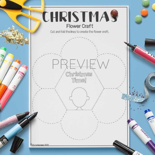 ESL English Christmas Flower Craft Activity Worksheet