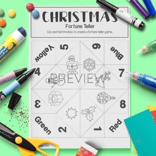 ESL English Christmas Fortune Teller Craft Game Activity Worksheet