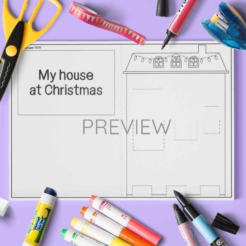 ESL English Christmas House Pop Up Craft Activity Worksheet