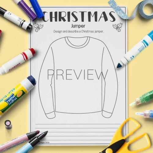 ESL English Christmas Jumper Draw And Describe Activity Worksheet