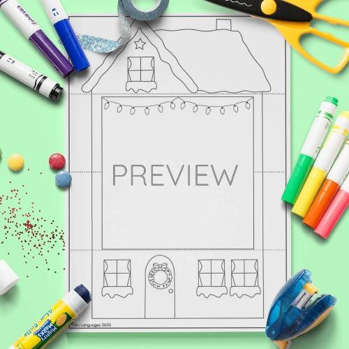 ESL English Christmas Pull Down House Craft Activity Worksheet