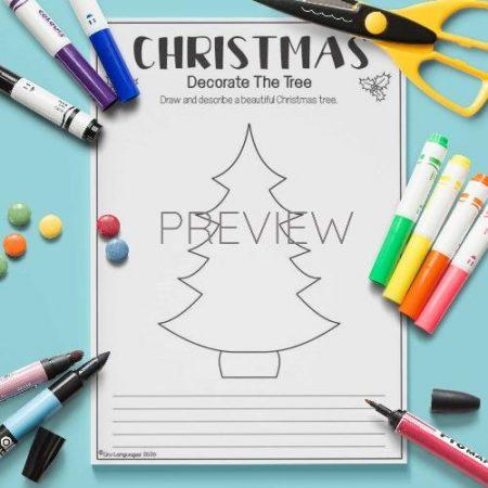 ESL English Christmas Tree Draw And Write Activity Worksheet