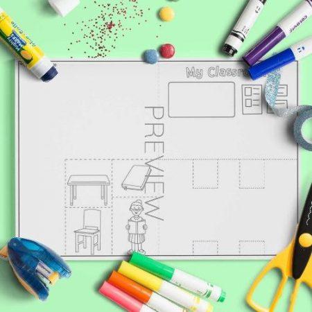 ESL English Classroom Pop Up Scene Craft Activity Worksheet