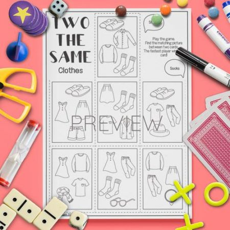 ESL English Clothes Two The Same Card Game Activity Worksheet