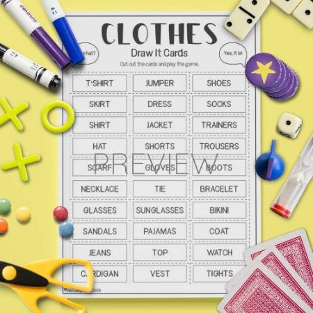 ESL English Clothes Draw It Card Game Activity Worksheet