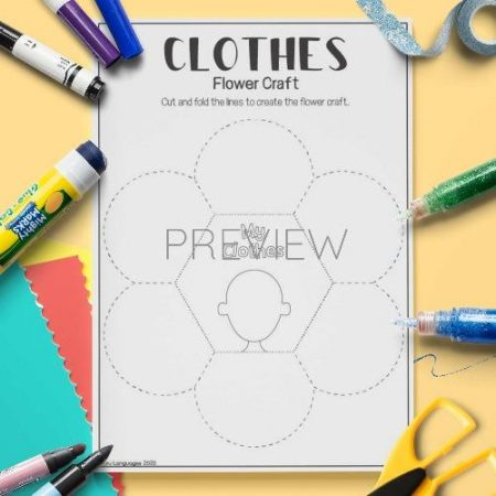 ESL English Clothes Flower Craft Activity Worksheet