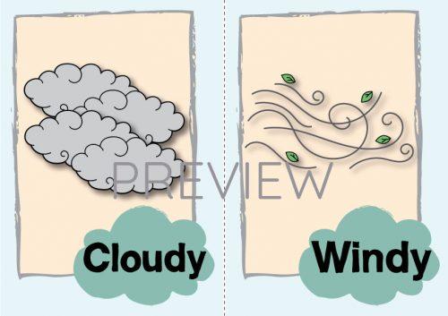 ESL English Cloudy Windy Flashcard