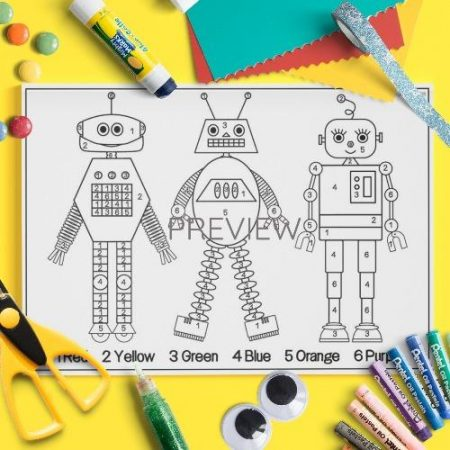 ESL English Robots Colour By Numbers Activity Worksheet