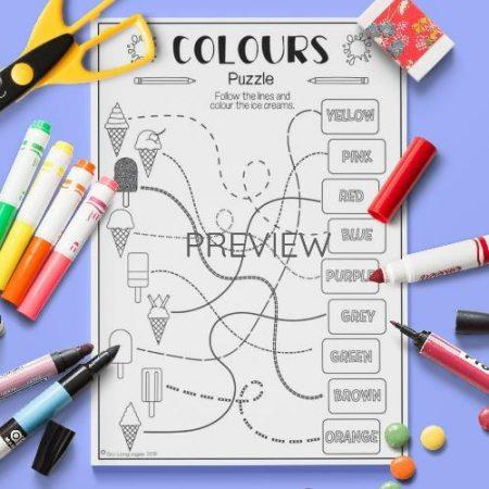 ESL English Colours Vocabulary Puzzle Activity Worksheet