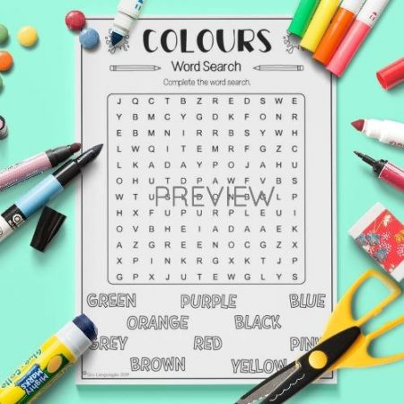 ESL English Colours Word Search Activity Worksheet