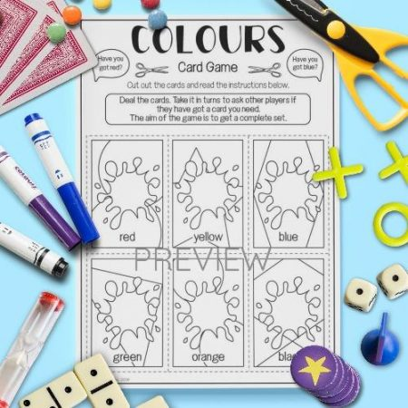 ESL English Colours And Numbers Card Game Activity Worksheet