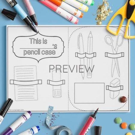 ESL English School Pencil Case Craft Activity Worksheet