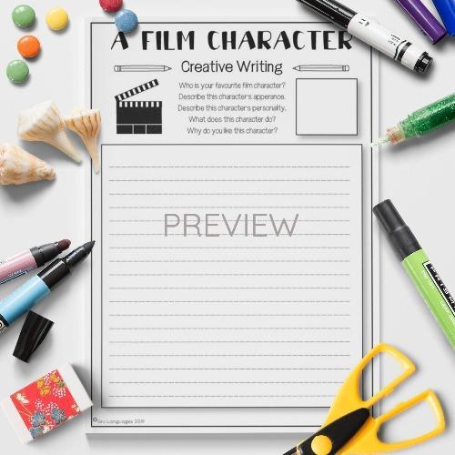 ESL English Film Character Writing Activity Worksheet