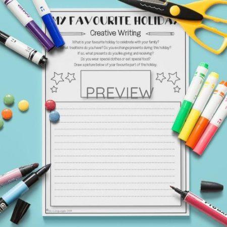 ESL English My Favourite Holiday Writing Activity Worksheet
