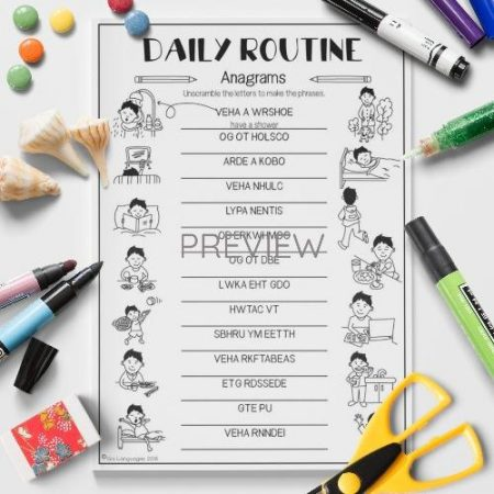ESL English Daily Routine Anagrams Activity Worksheet