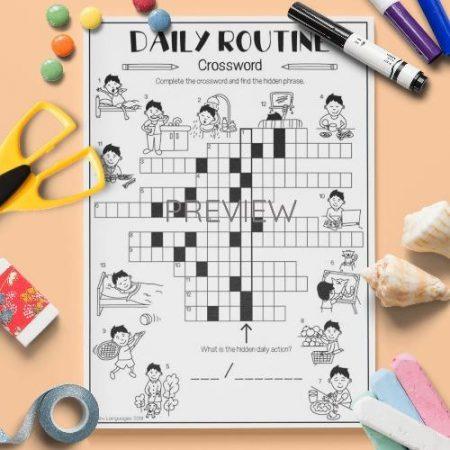 ESL English Daily Routine Crossword Activity Worksheet