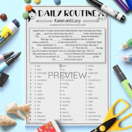 ESL English Daily Routine Gap Fill Activity Worksheet