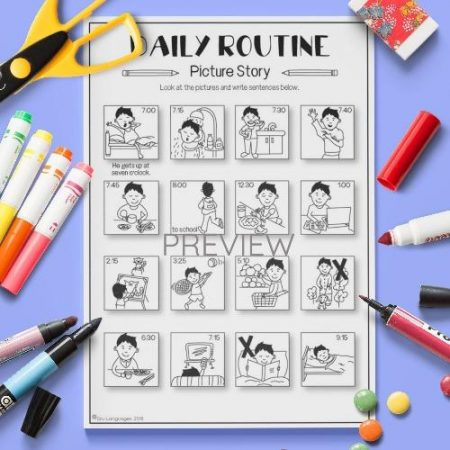 ESL English Daily Routine Picture Story Activity Worksheet