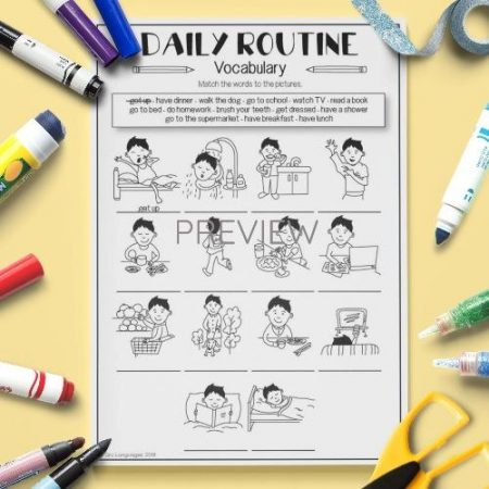 ESL English Daily Routine Vocabulary Activity Worksheet