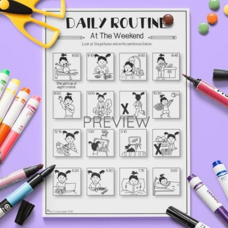 ESL English Daily Routine At The Weekend Activity Worksheet