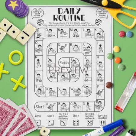 ESL English Daily Routine Board Game Activity Worksheet