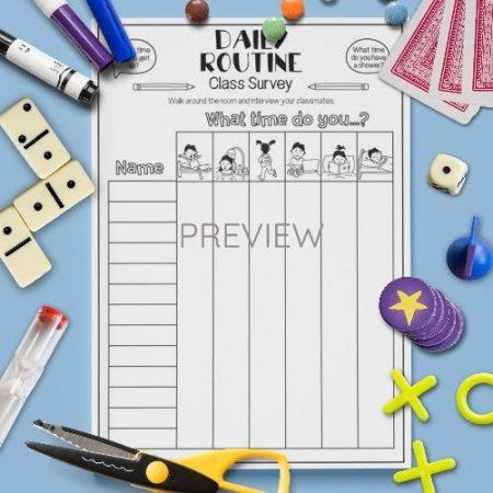 ESL English Daily Routine Class Survey Activity Worksheet