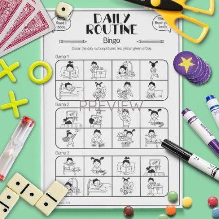 ESL English Daily Routine Bingo Game Activity Worksheet
