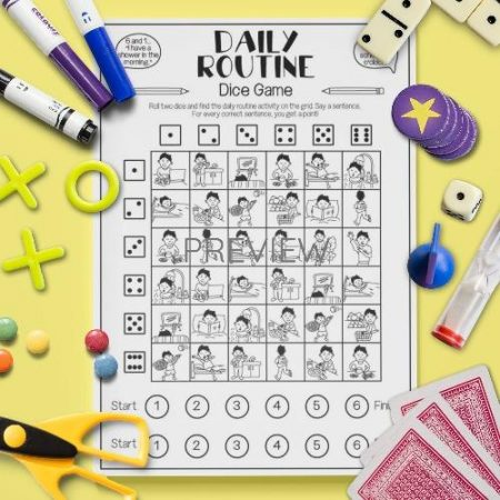 ESL English Daily Routine Dice Game Activity Worksheet
