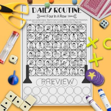 ESL English Daily Routine Four In A Row Game Activity Worksheet