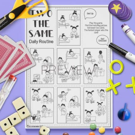 ESL English Daily Routine Two The Same Card Game Activity Worksheet