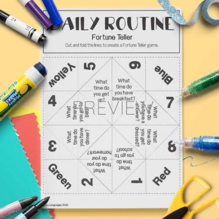 ESL English Daily Routine Fortune Teller Craft Game Activity Worksheet