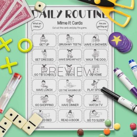 ESL English Daily Routine Mime Card Game Activity Worksheet